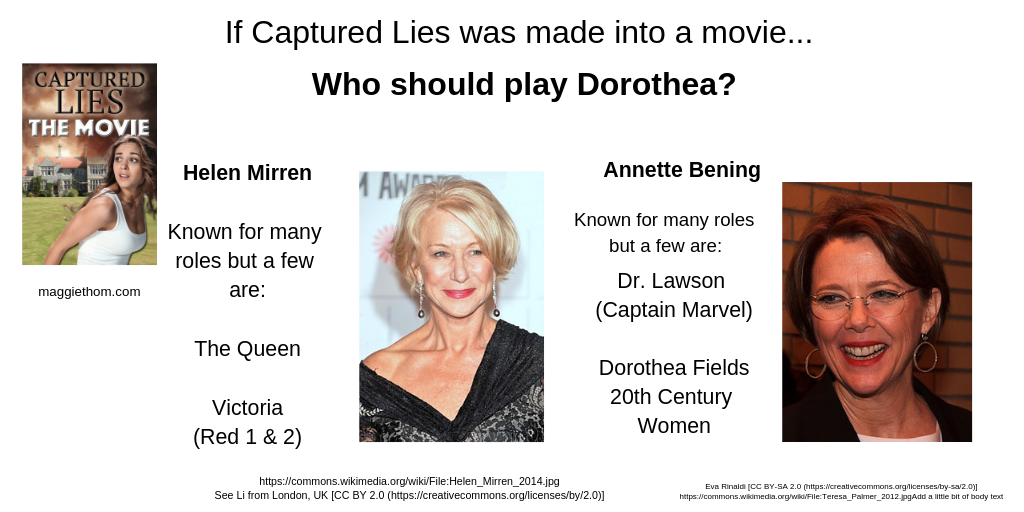 When Captured Lies becomes a Movie, Who'd Play Dorothea?